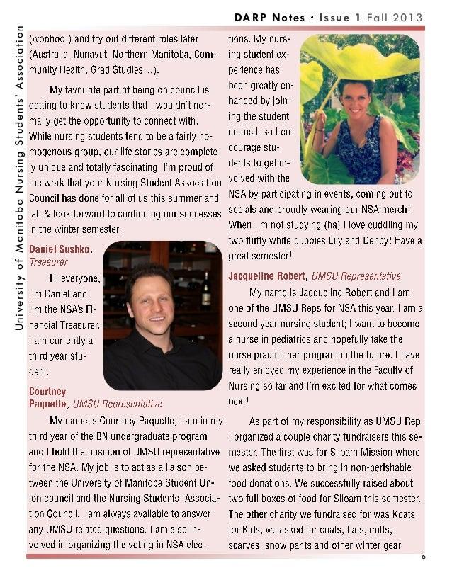 DARP Notes Issue 1 Fall 2013UniversityofManitobaNursingStudents'Association 6