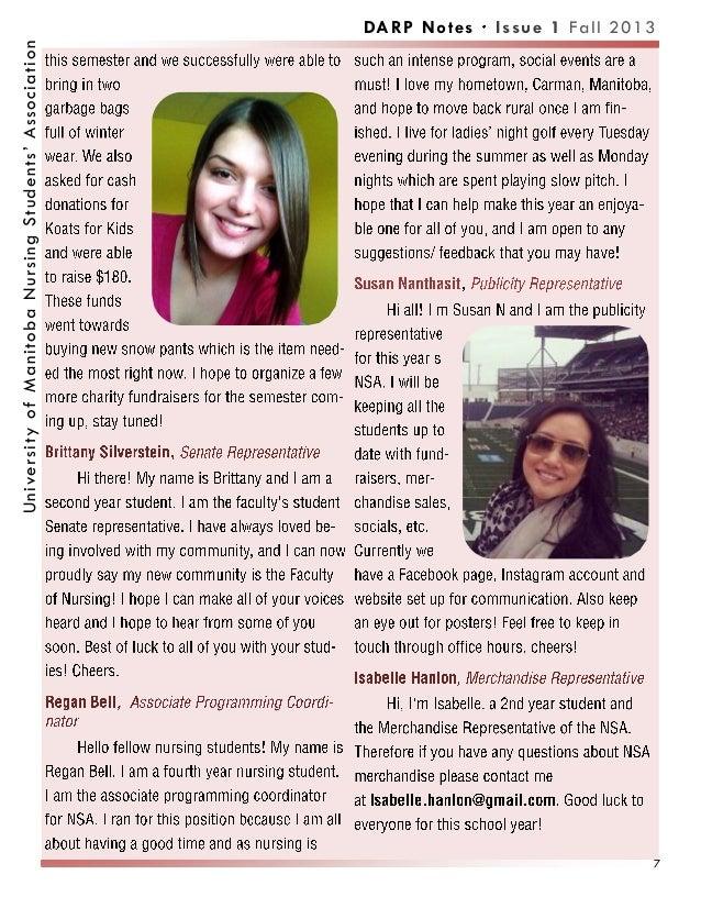 DARP Notes Issue 1 Fall 2013UniversityofManitobaNursingStudents'Association 7