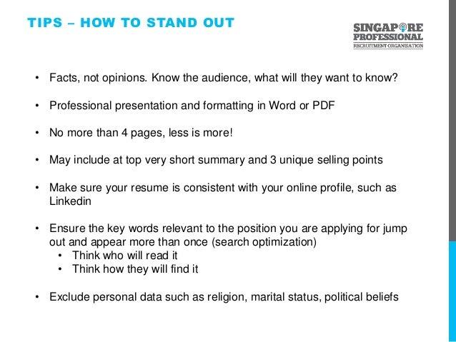 spro presentation resume clinic