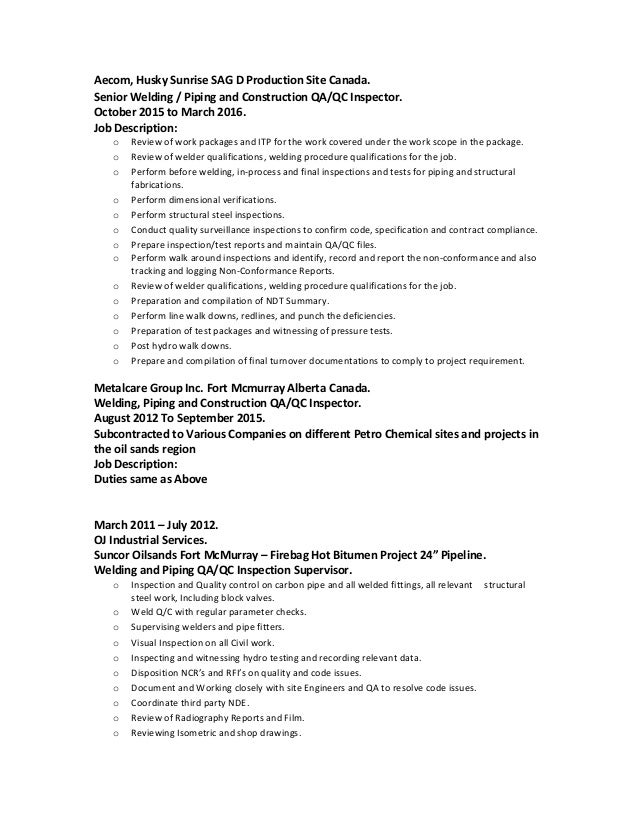 CV CANADA OCT 2016 – Structural Welder Job Description