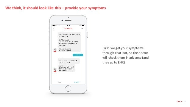 We think, it should look like this – provide your symptoms 4 First, we get your symptoms through chat-bot, so the doctor w...