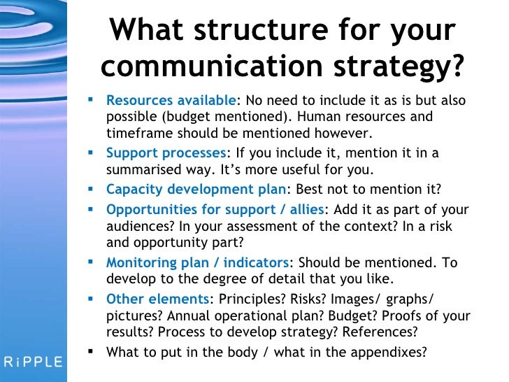 ... 39. What Structure For Your Communication Strategy?