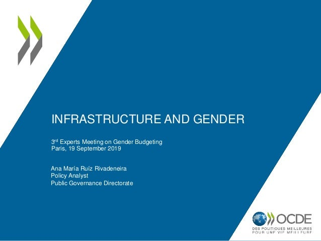 INFRASTRUCTURE AND GENDER 3rd Experts Meeting on Gender Budgeting Paris, 19 September 2019 Ana María Ruíz Rivadeneira Poli...