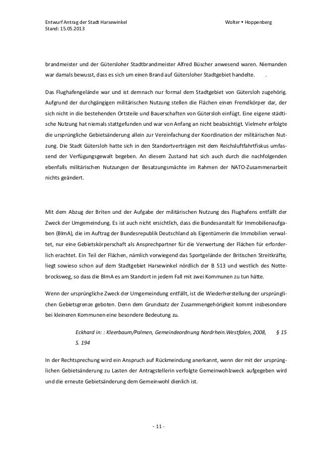 Entwurf Antrag der Stadt Harsewinkel Wolter  HoppenbergStand: 15.05.2013- 11 -brandmeister und der Gütersloher Stadtbrand...