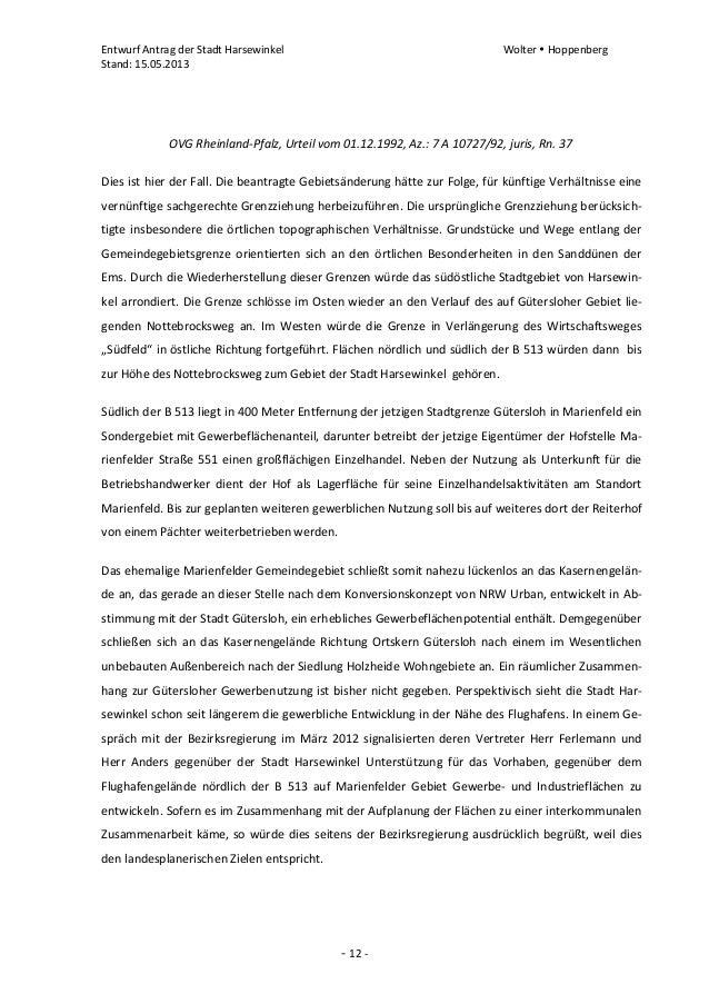 Entwurf Antrag der Stadt Harsewinkel Wolter  HoppenbergStand: 15.05.2013- 12 -OVG Rheinland-Pfalz, Urteil vom 01.12.1992,...