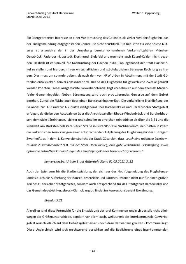 Entwurf Antrag der Stadt Harsewinkel Wolter  HoppenbergStand: 15.05.2013- 13 -Ein übergeordnetes Interesse an einer Weite...