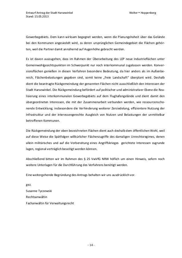 Entwurf Antrag der Stadt Harsewinkel Wolter  HoppenbergStand: 15.05.2013- 14 -Gewerbegebiets. Dem kann wirksam begegnet w...