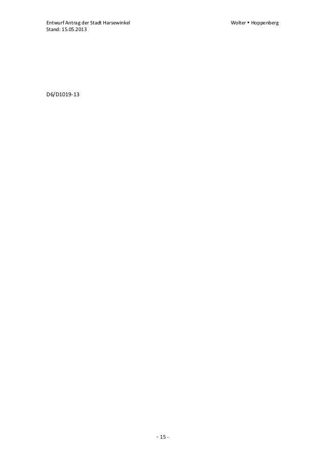 Entwurf Antrag der Stadt Harsewinkel Wolter  HoppenbergStand: 15.05.2013- 15 -D6/D1019-13