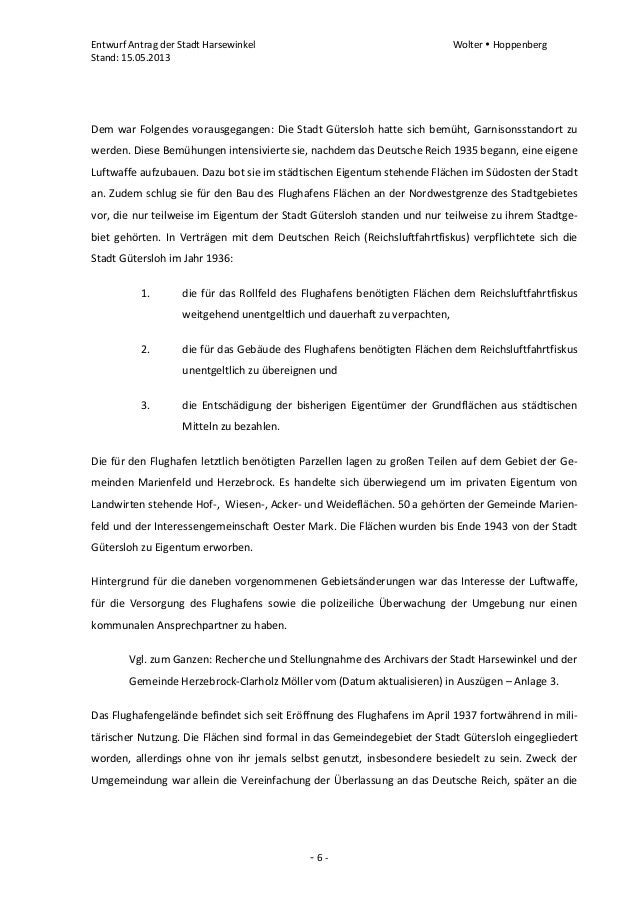 Entwurf Antrag der Stadt Harsewinkel Wolter  HoppenbergStand: 15.05.2013- 6 -Dem war Folgendes vorausgegangen: Die Stadt ...