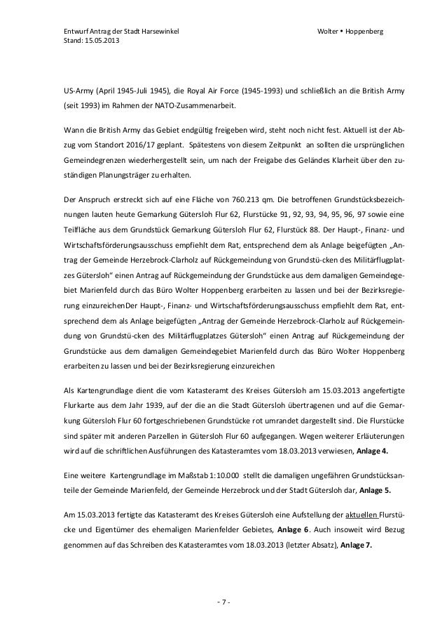 Entwurf Antrag der Stadt Harsewinkel Wolter  HoppenbergStand: 15.05.2013- 7 -US-Army (April 1945-Juli 1945), die Royal Ai...
