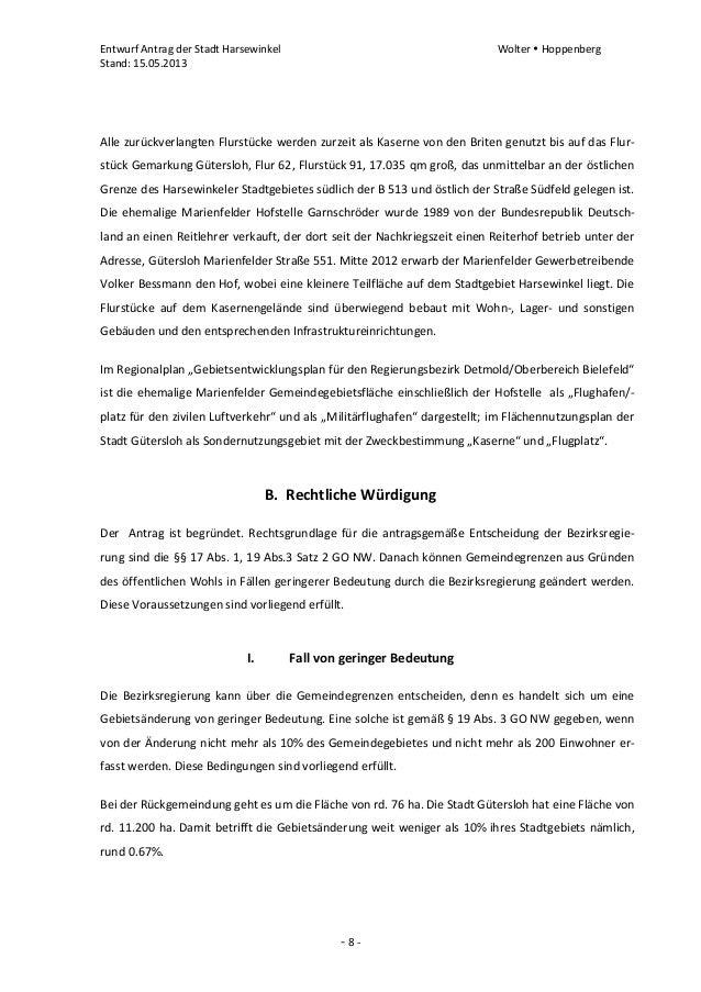 Entwurf Antrag der Stadt Harsewinkel Wolter  HoppenbergStand: 15.05.2013- 8 -Alle zurückverlangten Flurstücke werden zurz...