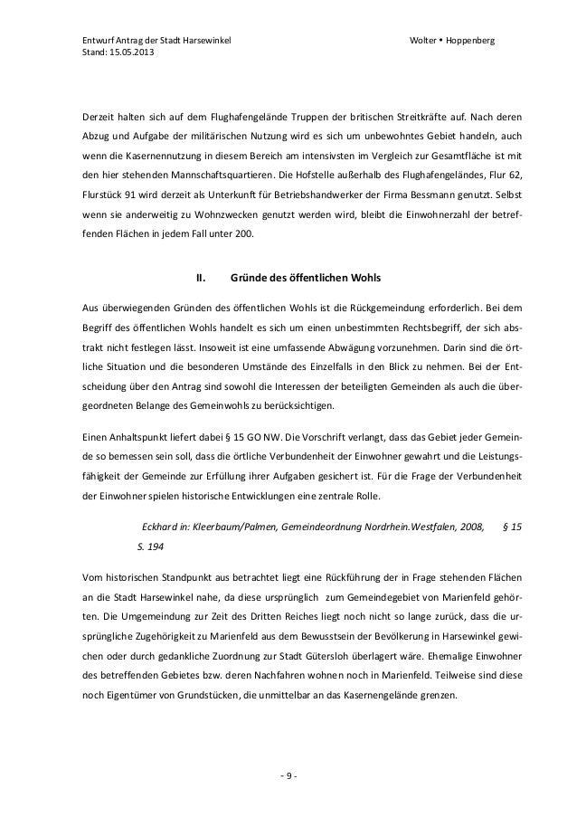 Entwurf Antrag der Stadt Harsewinkel Wolter  HoppenbergStand: 15.05.2013- 9 -Derzeit halten sich auf dem Flughafengelände...