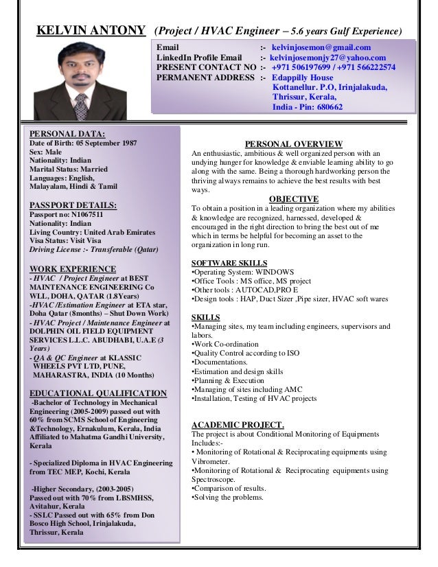 Resume Hvac Maintenance Engineer Professional Resume Templates