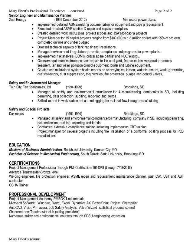 mary ebert resume ehs manager