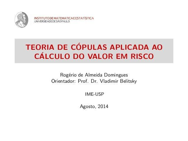 TEORIA DE C´OPULAS APLICADA AO C´ALCULO DO VALOR EM RISCO Rog´erio de Almeida Domingues Orientador: Prof. Dr. Vladimir Bel...
