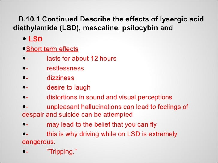 Long Term Effects of Mescaline