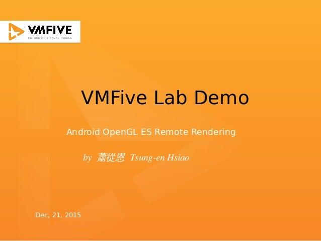 VMFive Lab Demo by 蕭從恩 Tsung-en Hsiao Android OpenGL ES Remote Rendering Dec, 21, 2015