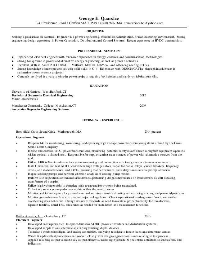 power system engineer resume