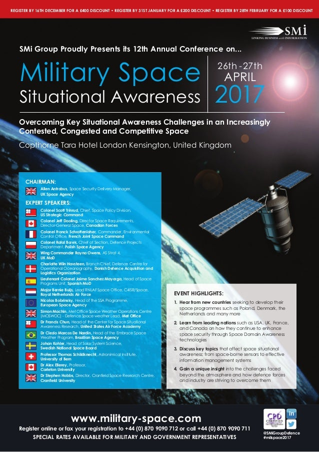 SMi Group\'s 12th annual Military Space Situational Awareness 2017