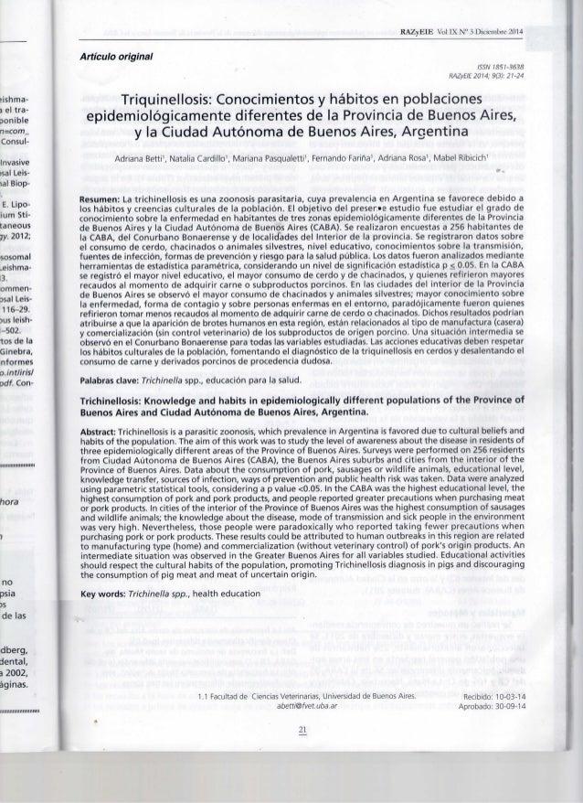 Triquinellosis Conocimientos y hábitos Argentina