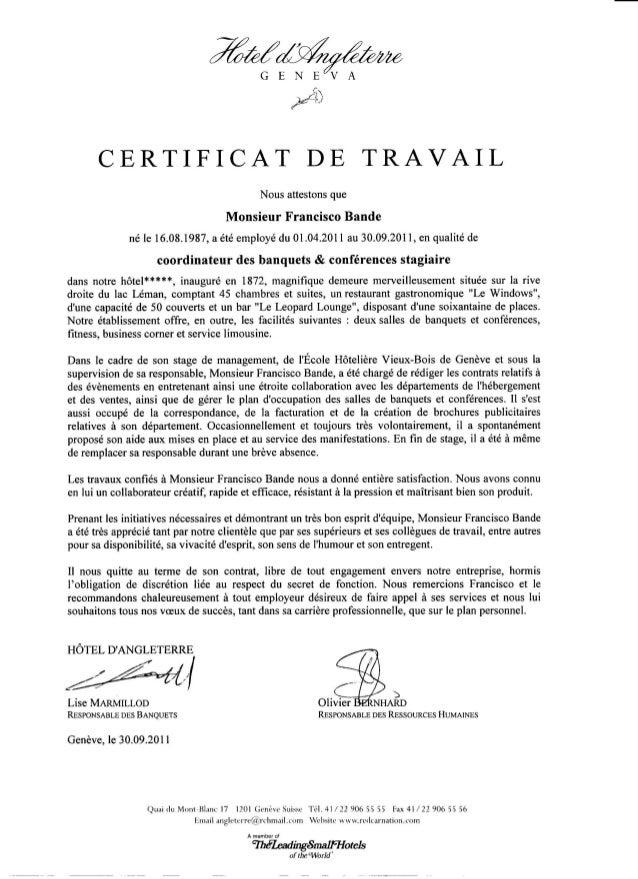 Certificat de travail   Hôtel d'Angleterre Genève   2011