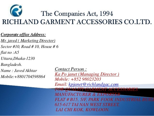Corporate office Address: Mr. javed ( Marketing Director) Sector #10, Road # 10, House # 6 flat no :A5 Uttara,Dhaka-1230 B...