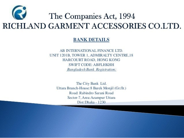 BANK DETAILS AB INTERNATIONAL FINANCE LTD. UNIT 1201B, TOWER 1, ADMIRALTY CENTRE,18 HARCOURT ROAD, HONG KONG SWIFT CODE: A...