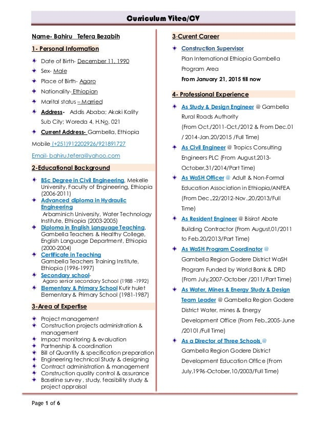 Bahiru Tefera updated CV