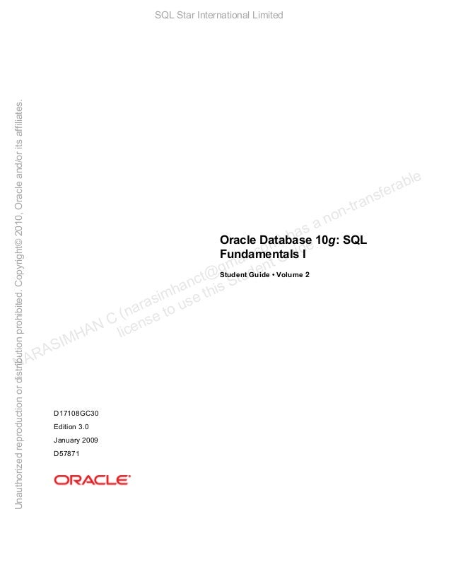 Unauthorized reproduction or distribution prohibited. Copyright© 2010, Oracle and/or its affiliates.  SQL Star Internation...