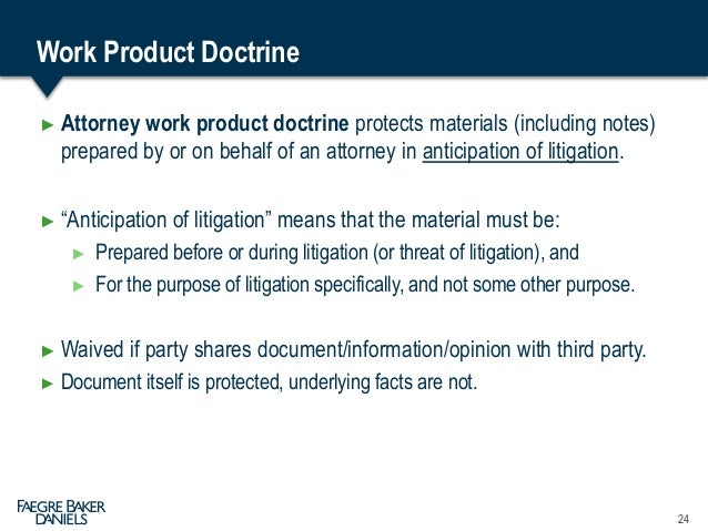 Attorney Work Product Doctrine Meaning
