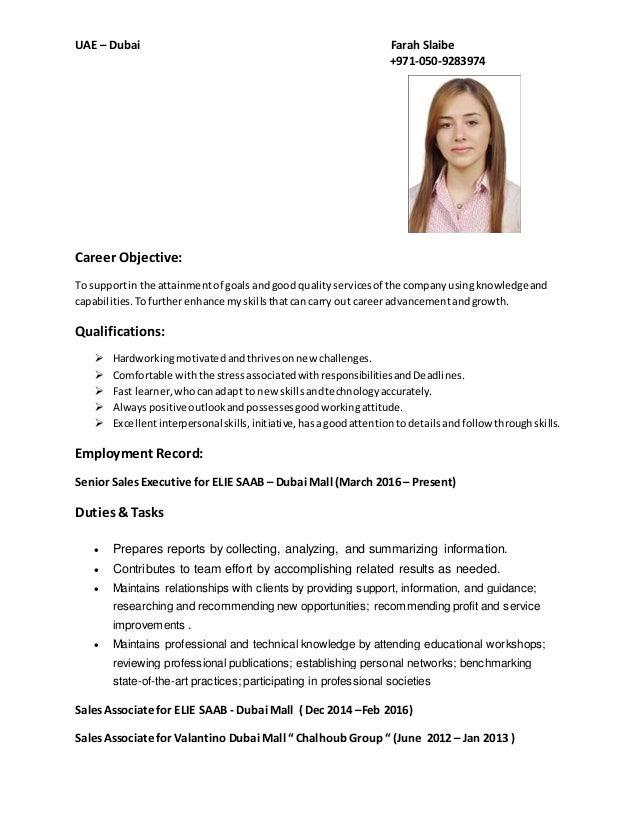 UAE – Dubai Farah Slaibe +971-050-9283974 Career Objective: To supportin the attainmentof goalsandgood qualityservicesof t...