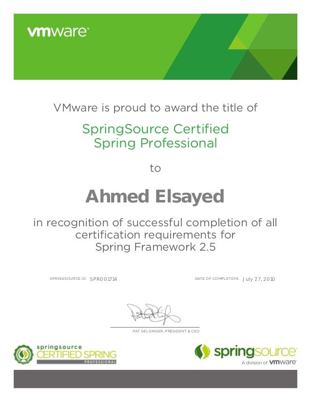 SpringSource Certificate-Ahmed Elsayed
