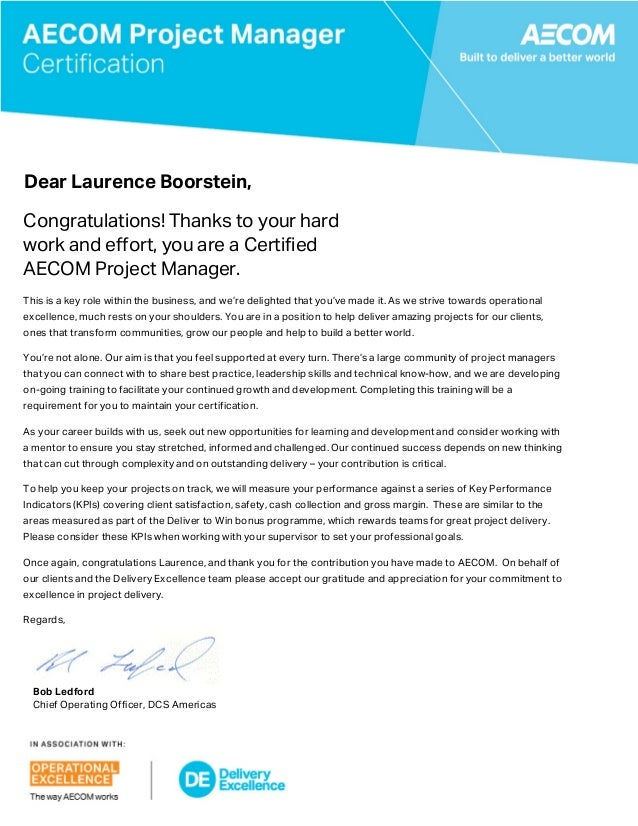 pm certification letter and certificate dear laurence boorstein congratulations thanks to your hard work and effort