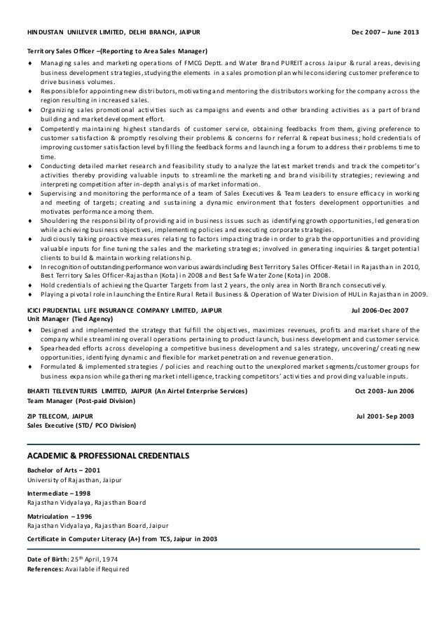 fmcg resumes template sample - Fmcg Resume Sample