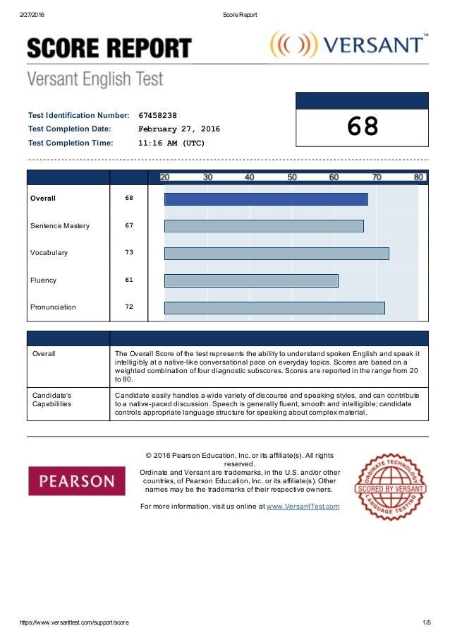 versantscore report