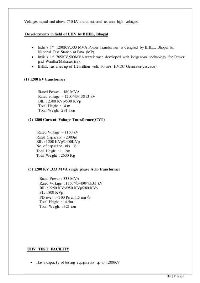 bhel report ultra high voltage uhv 38