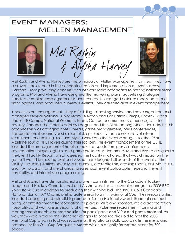 EVENT MANAGERS: MELLEN MANAGEMENT
