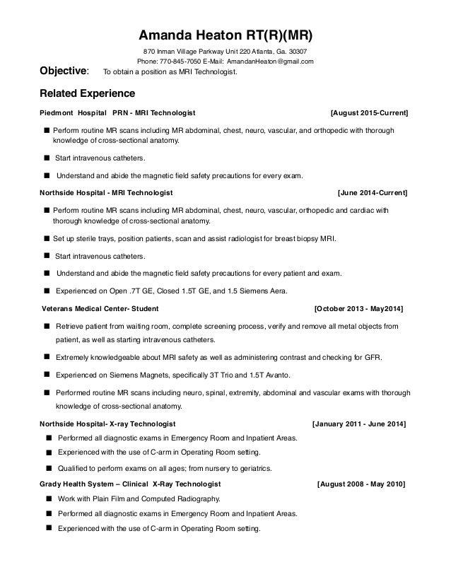 Mri Field Service Engineer Resume X Ray Tech Resume Radiologic Technologist  Mri Tech Resume Sample Medical  Mri Technologist Resume