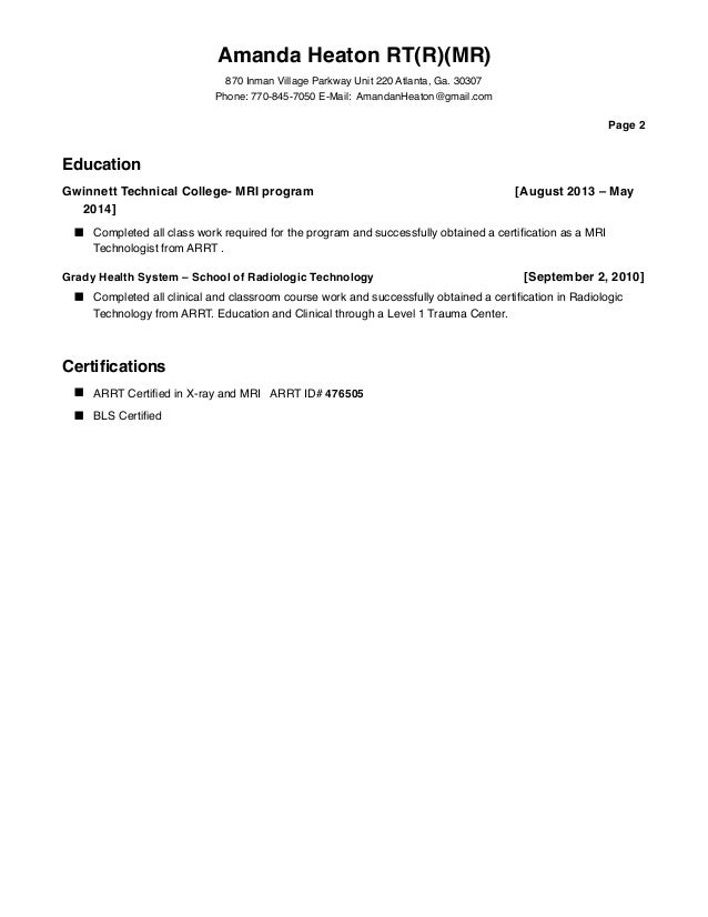 amanda heaton resume with reference mri dec 2015
