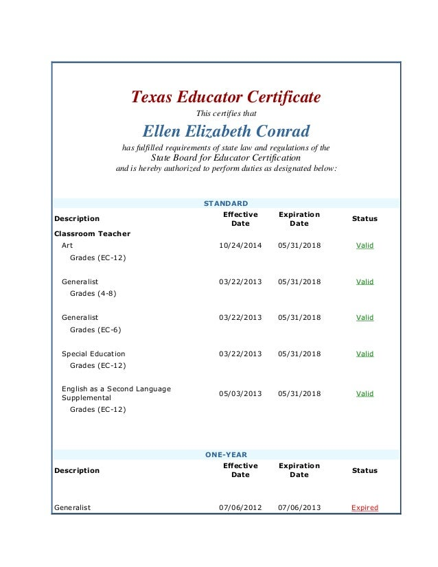Ellen Conrad Credentials Tx