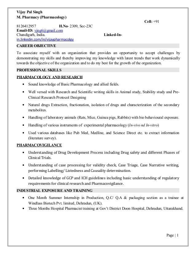 resume of vijay m pharma pharmacology