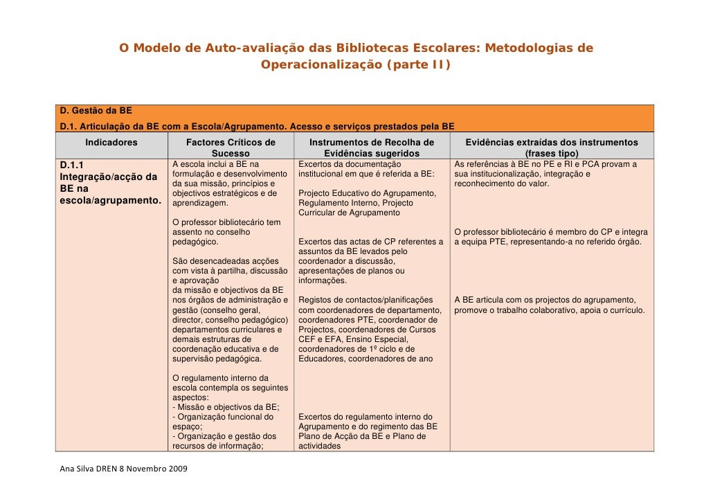 O Modelo de Auto-avaliação das Bibliotecas Escolares: Metodologias de                                  Operacionalização (...