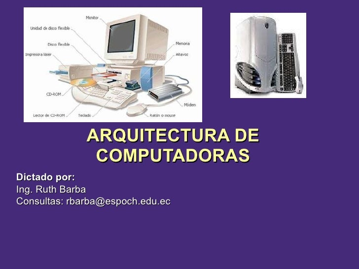 ARQUITECTURA DE COMPUTADORAS Dictado por:  Ing. Ruth Barba Consultas: rbarba@espoch.edu.ec