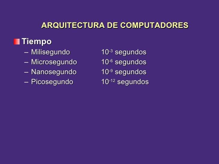 <ul><li>Tiempo </li></ul><ul><ul><li>Milisegundo  10 -3  segundos  </li></ul></ul><ul><ul><li>Microsegundo  10 -6  segundo...
