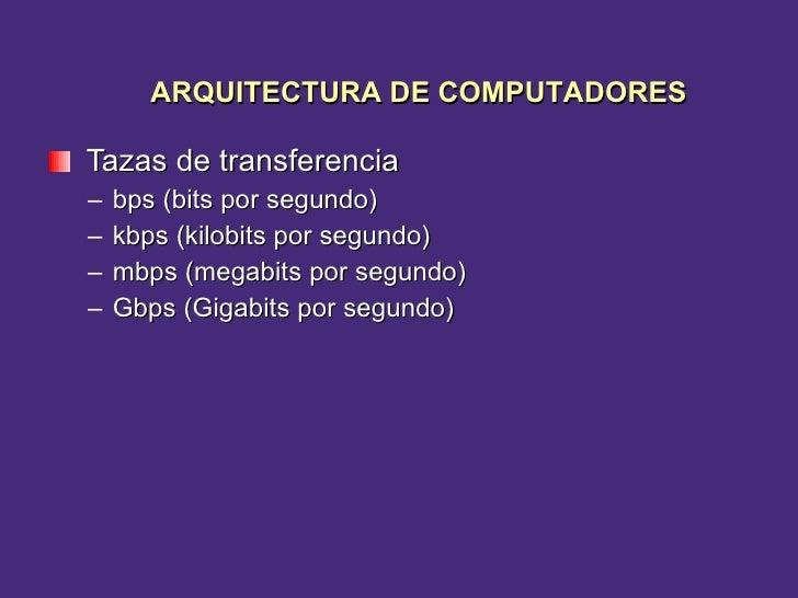 <ul><li>Tazas de transferencia </li></ul><ul><ul><li>bps (bits por segundo) </li></ul></ul><ul><ul><li>kbps (kilobits por ...