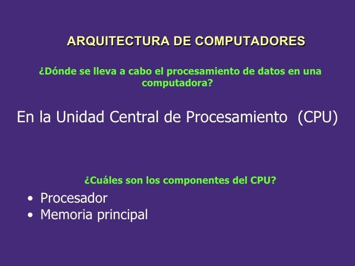 ¿Dónde se lleva a cabo el procesamiento de datos en una computadora? En la Unidad Central de Procesamiento  (CPU) ¿Cuáles ...