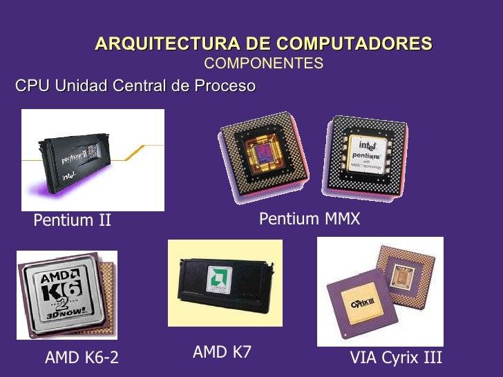 CPU Unidad Central de Proceso Pentium II  Pentium MMX VIA Cyrix III AMD K7 AMD K6-2 ARQUITECTURA DE COMPUTADORES COMPONENTES