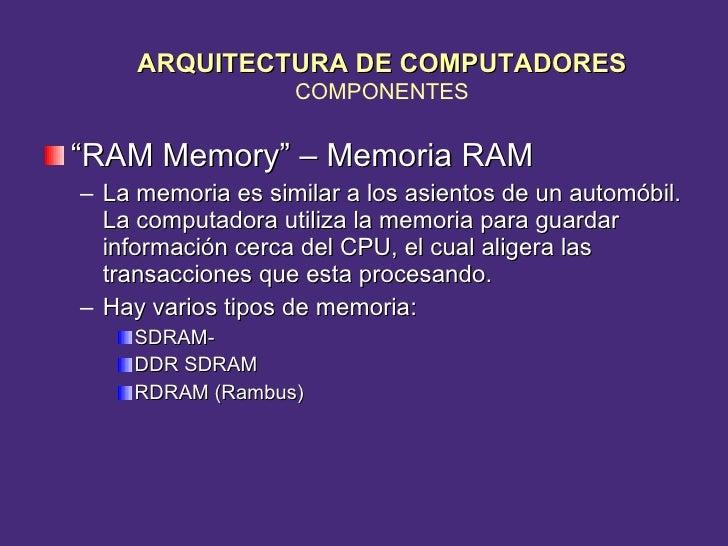 "<ul><li>"" RAM Memory"" – Memoria RAM </li></ul><ul><ul><li>La memoria es similar a los asientos de un automóbil.  La comput..."
