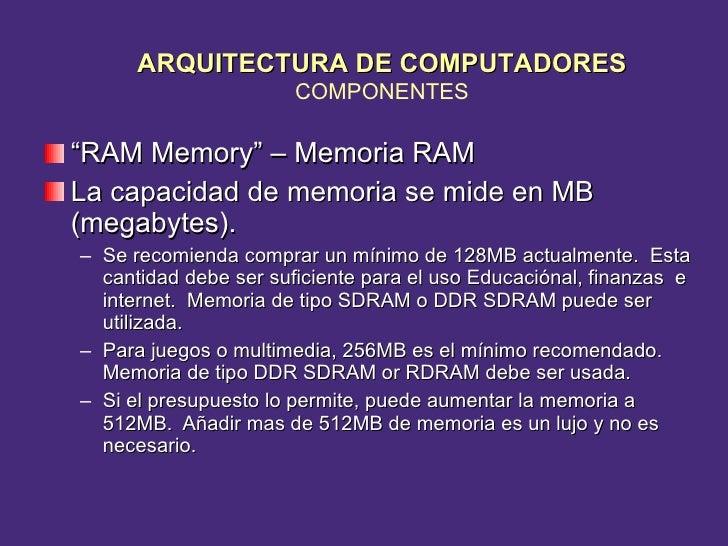 "<ul><li>"" RAM Memory"" – Memoria RAM </li></ul><ul><li>La capacidad de memoria se mide en MB (megabytes). </li></ul><ul><ul..."