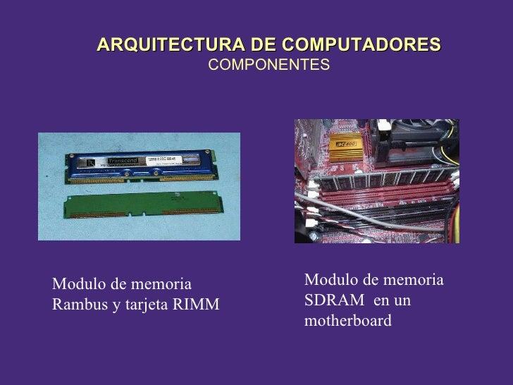 Modulo de memoria Rambus y tarjeta RIMM Modulo de memoria SDRAM  en un motherboard ARQUITECTURA DE COMPUTADORES COMPONENTES